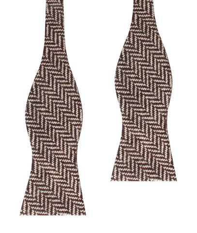Brown Chevron Wool Self Bow Tie