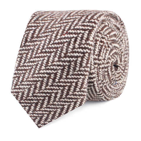 Brown Chevron Wool Skinny Tie