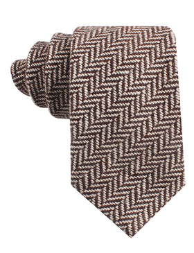 Brown Chevron Wool Tie