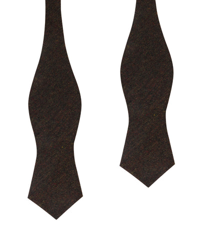 Brown Columbia Wool Diamond Self Bow Tie
