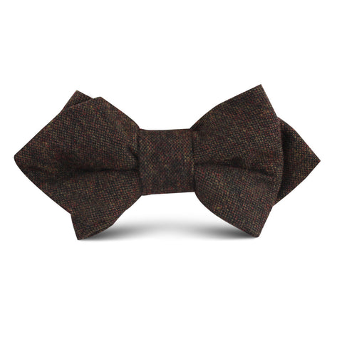 Brown Columbia Wool Kids Diamond Bow Tie