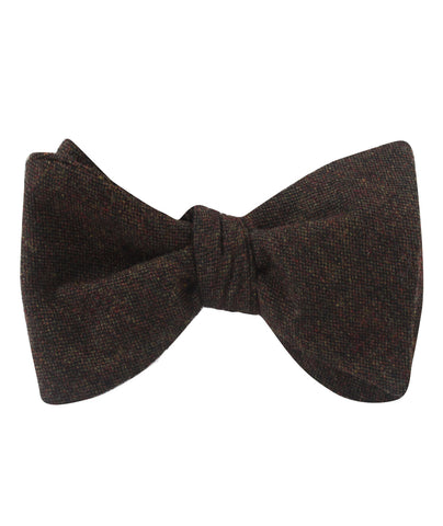 Brown Columbia Wool Self Bow Tie