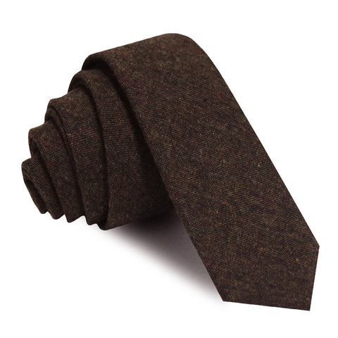 Brown Columbia Wool Skinny Tie
