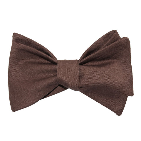 Brown Cotton Self Tie Bow Tie