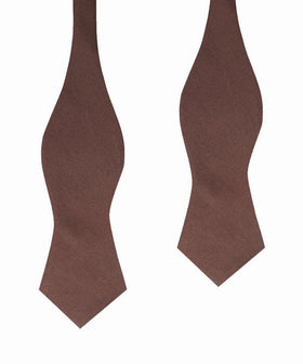 Brown Cotton Self Tie Diamond Bow Tie