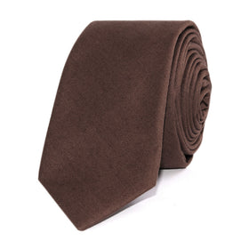 Brown Cotton Skinny Tie