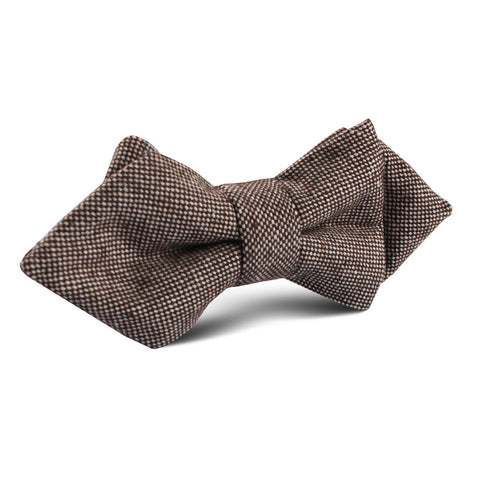 Brown Gingerbread Linen Diamond Bow Tie