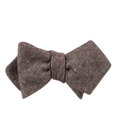 Brown Gingerbread Linen Diamond Self Bow Tie