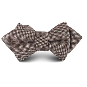 Brown Gingerbread Linen Kids Diamond Bow Tie