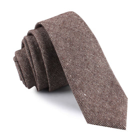Brown Gingerbread Linen Skinny Tie