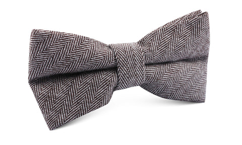 Brown Herringbone Linen Bow Tie