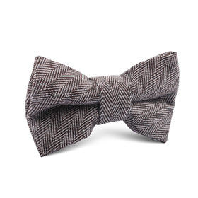 Brown Herringbone Linen Kids Bow Tie