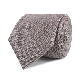 Brown Herringbone Linen Necktie