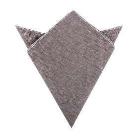 Brown Herringbone Linen Pocket Square