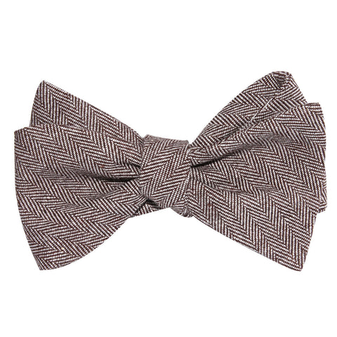 Brown Herringbone Linen Self Tie Bow Tie