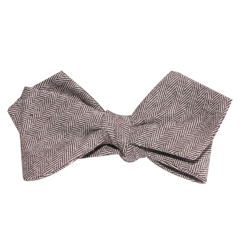 Brown Herringbone Linen Self Tie Diamond Tip Bow Tie