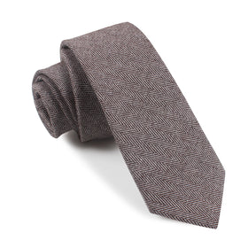 Brown Herringbone Linen Skinny Tie