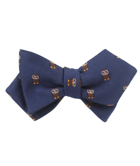 Brown Horned Owl Diamond Self Bow Tie