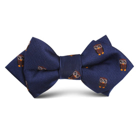 Brown Horned Owl Kids Diamond Bow Tie