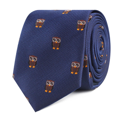 Brown Horned Owl Skinny Tie
