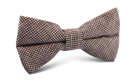 Brown Houndstooth Linen Bow Tie