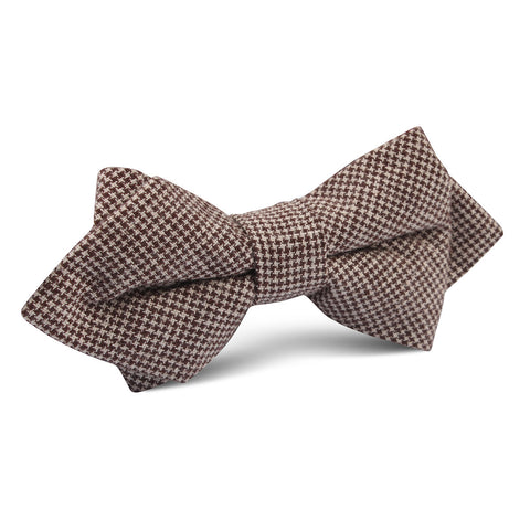 Brown Houndstooth Linen Diamond Bow Tie
