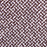 Brown Houndstooth Linen Fabric Self Tie Diamond Tip Bow TieL179