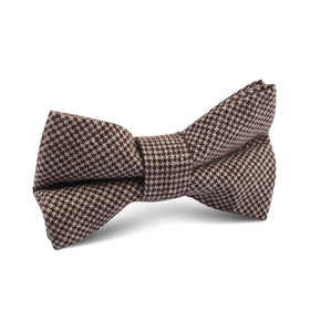 Brown Houndstooth Linen Kids Bow Tie