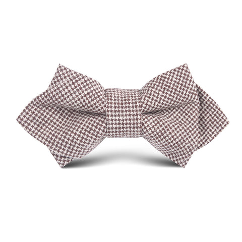 Brown Houndstooth Linen Kids Diamond Bow Tie
