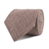 Brown Houndstooth Linen Necktie Front Roll