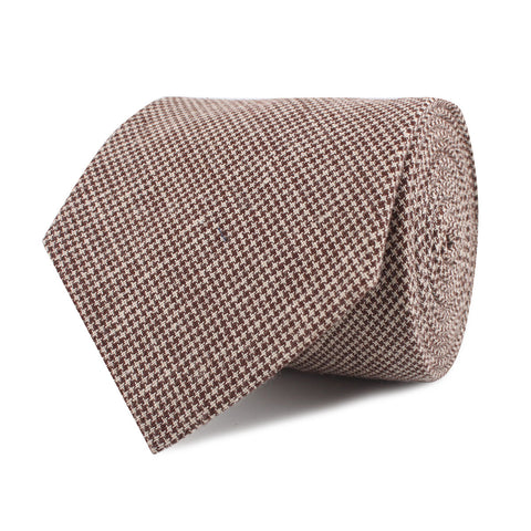 Brown Houndstooth Linen Necktie