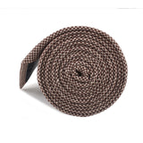 Brown Houndstooth Linen Necktie Side Roll