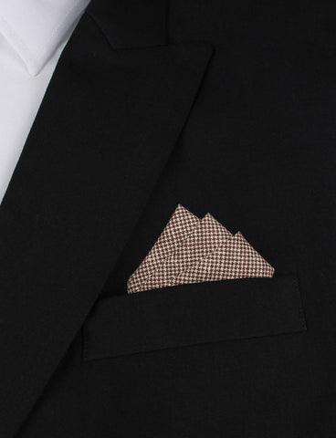 Brown Houndstooth Linen Pocket Square
