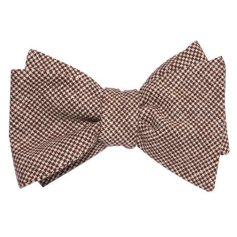 Brown Houndstooth Linen Self Tie Bow Tie