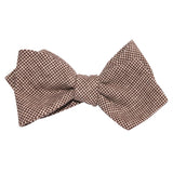 Brown Houndstooth Linen Self Tie Diamond Tip Bow Tie 2