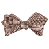 Brown Houndstooth Linen Self Tie Diamond Tip Bow Tie 1