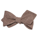Brown Houndstooth Linen Self Tie Diamond Tip Bow Tie 3