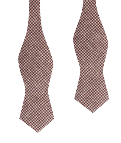 Brown Houndstooth Linen Self Tie Diamond Tip Bow Tie