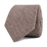 Brown Houndstooth Linen Skinny Tie Front Roll