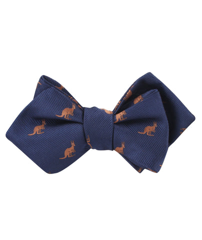 Brown Kangaroo Diamond Self Bow Tie