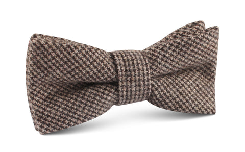 Brown Karakul Houndstooth Wool Bow Tie