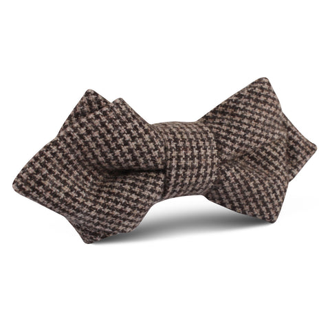 Brown Karakul Houndstooth Wool Diamond Bow Tie