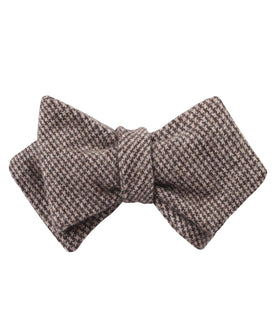 Brown Karakul Houndstooth Wool Diamond Self Bow Tie