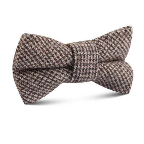 Brown Karakul Houndstooth Wool Kids Bow Tie