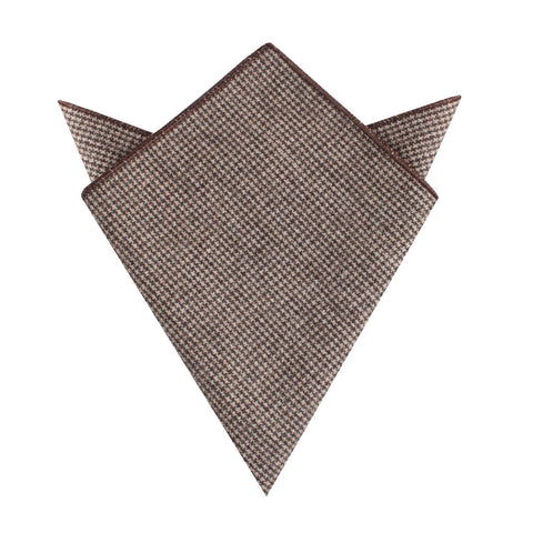 Brown Karakul Houndstooth Wool Pocket Square