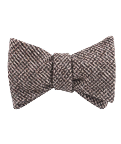 Brown Karakul Houndstooth Wool Self Bow Tie