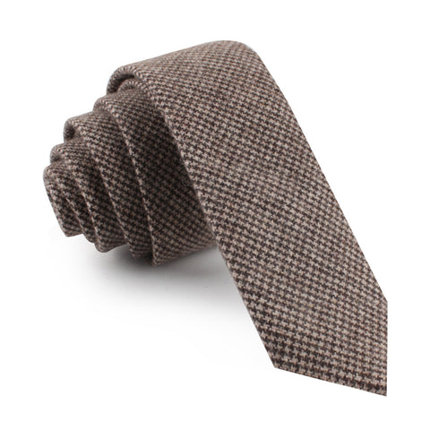 Brown Karakul Houndstooth Wool Skinny Tie