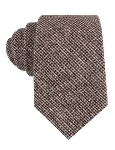 Brown Karakul Houndstooth Wool Tie