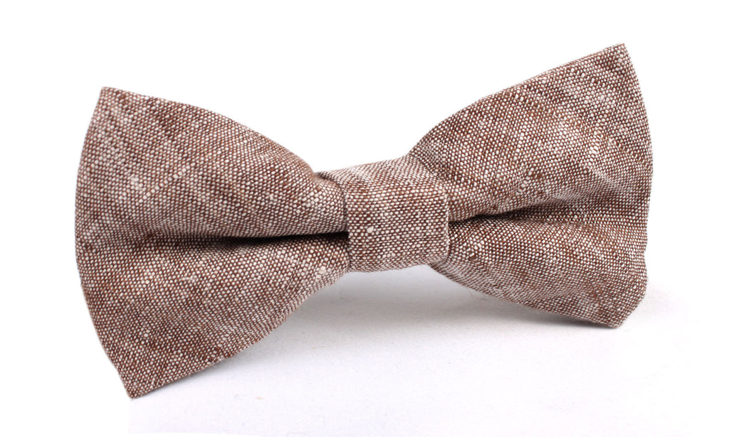 Brown Linen Chambray Bow Tie