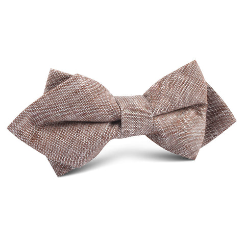 Brown Linen Chambray Diamond Bow Tie
